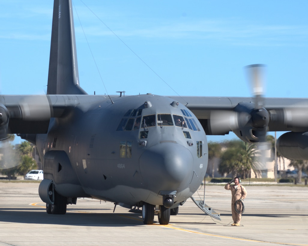 An HC-130P/N King refueling aircraft, piloted by Rescue Wing Airmen of the 920th Rescue Wing, Patrick Air Force Base, Fla., prepares to take off Jan 25. An estimated 30 Rescue Wing Airmen deployed in two of the wing's HC-130's to the Horn of Africa. The C-130's will be used to fly missions throughout the region in support of the ongoing search and rescue and humanitarian relief efforts there. (U.S. Air Force photo/Master Sgt. Rob Grande)