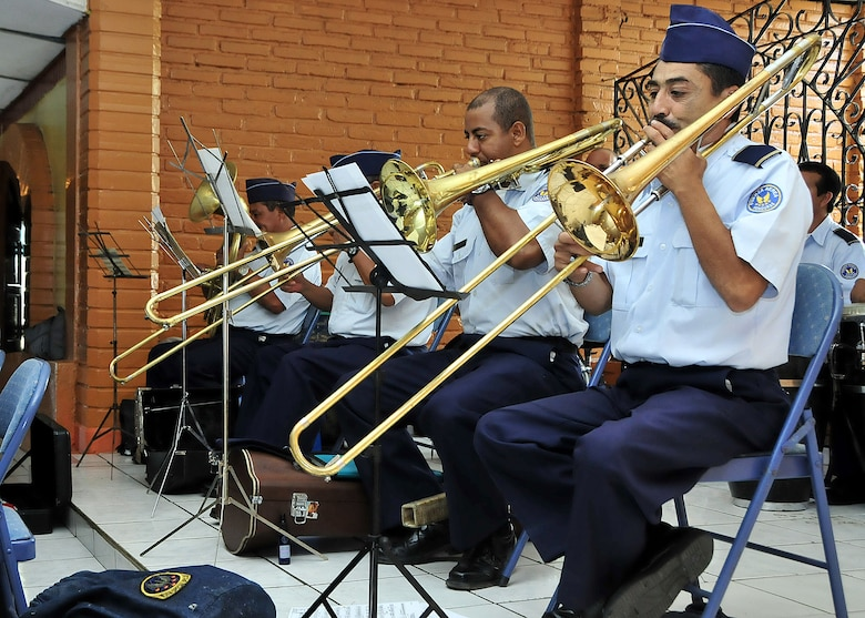 The Honduran Air Force band provided music before and after the opening ceremony, as well as the national anthem for both the United States and Honduras in Tegucigalpa, Honduras, Jan. 25.  (U.S. Air Force photo by Tech. Sgt. Lesley Waters)