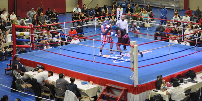 The Air Force Box-Off tournament, held Jan. 20-21 at Joint Base San Antonio-Fort Sam Houston, Texas, preps select Air Force boxers for the Armed Forces Boxing Championships. This year's event will be held at Camp Pendleton, Calif. (U.S. Air Force photo/ Deyanira Romo Russell)