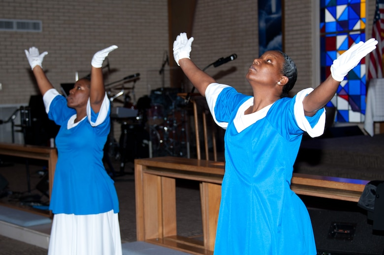 A praise dance group performed at a base celebration of Martin Luther King's legacy Jan. 18. Maxwell chapel held a memorial service for Martin Luther King Jr., celebrating the life and work of the famous civil rights activist. (Air Force photo/Melanie Rodgers Cox)