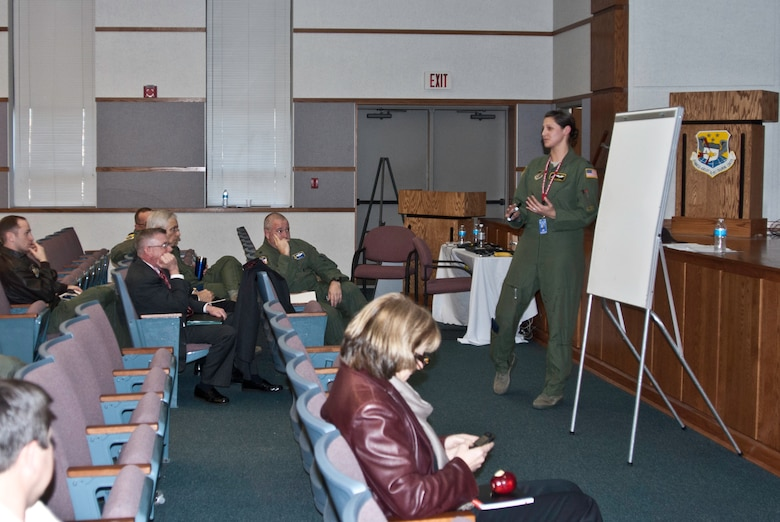 Capt. Beth Young, Yokota Air Base, Japan, leads a small group discussion at the Advanced Airlift Tactics Training Center's 30th Annual Tactics and Intelligence Symposium at Rosecrans Air National Guard Base, St. Joseph, Mo., Jan. 26, 2012. (Missouri Air National Guard photo by Tech. Sgt. Erin Hickok)