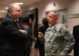 "WASHINGTON, D.C — The Honorable Dr. Joseph W. Westphal, under secretary of the U.S. Army (left), and Maj. Gen. Merdith ""Bo"" Temple, U.S. Army Corps of Engineers acting commander and chief of engineers, have a breakout discussion during the USACE Leaders Conference here, Jan. 24, 2012. The leadership conference brings together all USACE senior leaders to discuss strategies and best business practices throughout the Corps of Engineers."