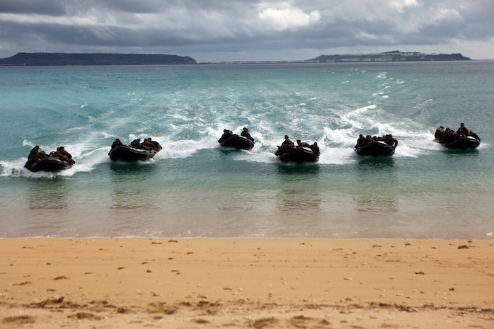 Marines with Company A, Battalion Landing Team 1st Battalion, 4th Marines, 31st Marine Expeditionary Unit, approach the beach in their combat rubber raiding craft, Jan. 29. The Marines were conducting a small boat raid during the MEU's Amphibious Integration Training in preparation for Exercise Cobra Gold 2012. The 31st MEU is the only continually forward-deployed MEU, and remains the nation's force-in-readiness in the Asia-Pacific region.