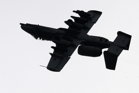 BAUMHOLDER, Germany – A U.S. Air Force A-10 Thunderbolt II from the 81st Fighter Squadron flies overhead during joint forces combat search and rescue training at the Baumholder Major Training Area here Jan. 26. The training integrates U.S. Army and Air Force resources to more accurately simulate the real-life CSAR and close air support scenarios encountered in deployed locations. The goal of this training is to develop tactics, techniques and procedures between the military branches to enhance interoperability. (U.S. Air Force photo/Airman 1st Class Dillon Davis)