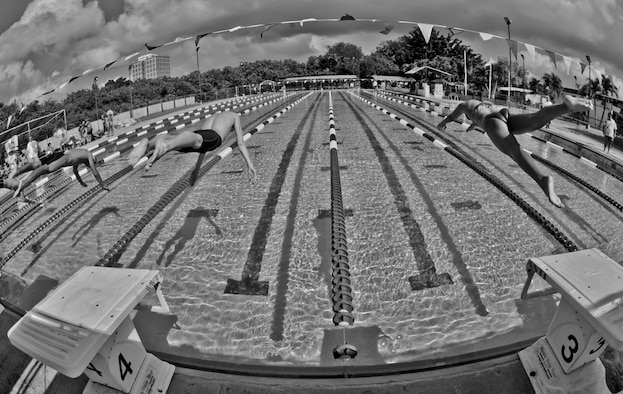Andersen Marlin's Swim Team members, made up of Team Andersen youth from ages 6 to 18 years old, compete in a tournament Dec. 16.  (U.S. Air Force photo/Staff Sgt. Alexandre Montes)