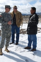 "Maj. Seth Wacker and Robert Isenberg of the U.S. Army Corps of Engineers South Pacific Division's 59th Forward Engineering Support Team ""Advanced"" (center), visit a freshwater site at Santa Clara Pueblo and meet with Adrian Garcia, a Santa Clara tribal member."