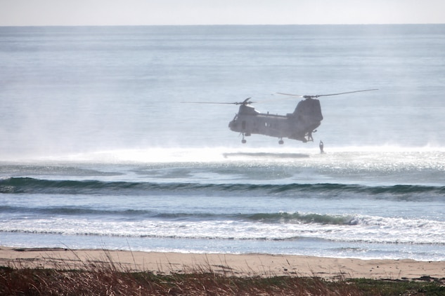A reconnaissance Marine with Alpha Company, 1st Reconnaissance Battalion jumps into the Pacific Ocean at the Red Beach training area during helo casting training, Jan. 30.  The event was a part of Exercise Iron Fist 2012, a bilateral training event with the Japanese, designed to increase interoperability between the two services. The purpose of helo casting is to insert troops over the horizon and have them come ashore to conduct reconnaissance missions. (U.S. Marine Corps photo by Lance Cpl. Timothy Childers)