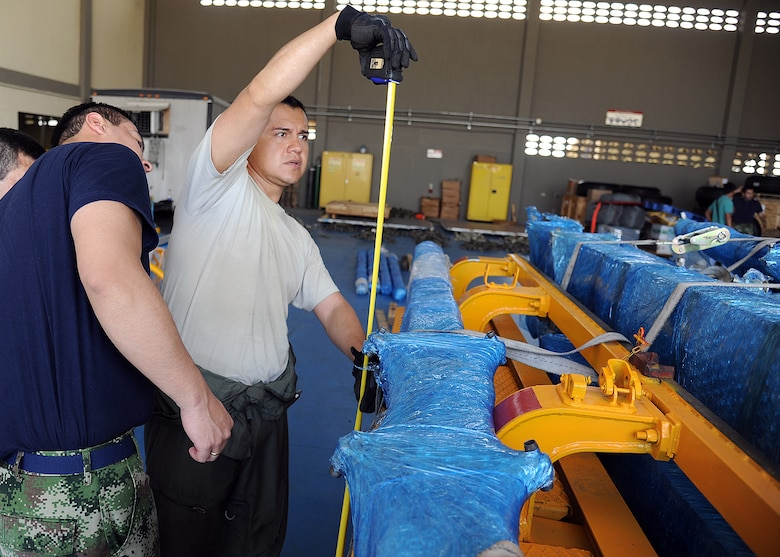 Staff Sgt. Javier Borges (right), 571st Mobility Support Advisory Squadron loadmaster air advisor, and members of the Colombian air force take measurements on a generator for loading onto aircraft during an Air Mobility Command Building Partner Capacity mission at General Alberto Pauwels Rodriguez Air Base in Barranquilla, Colombia, June 27.  (U.S. Air Force photo by Tech. Sgt. Lesley Waters)