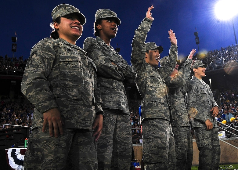 Members of Beale Air Force Base, Calif., cheer during the L.A. Galaxy versus San Jose Earthquakes game June 30 at Stanford University stadium. More than 300 servicemembers participated in the military appreciation night which highlighted the sacrifices troops make every day. (U.S. Air Force photo by Senior Airman Shawn Nickel)