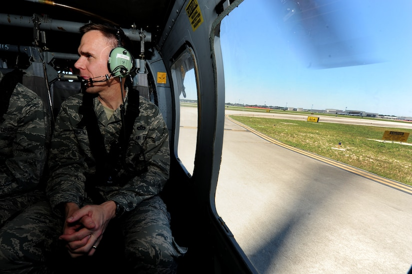 Brig. Gen. Timothy Green, Director of Installations and Mission Support, Headquarters Air Mobility Command, Scott Air Force Base, Ill., waits for take-off at the Atlantic Aviation flight-line, North Charleston, S.C., June 27, 2012.  Green and Maj. Gen. Timothy Byers, the Civil Engineer, Headquarters Air Force, Washington D.C., were given an aerial tour of Joint Base Charleston - Air Base and Weapons Station, Short Stay Naval recreation area and North Auxiliary Air Field.  Byers and Green were accompanied by members of JB Charleston leadership.  (U.S. Air Force/Staff Sgt. Nicole Mickle)