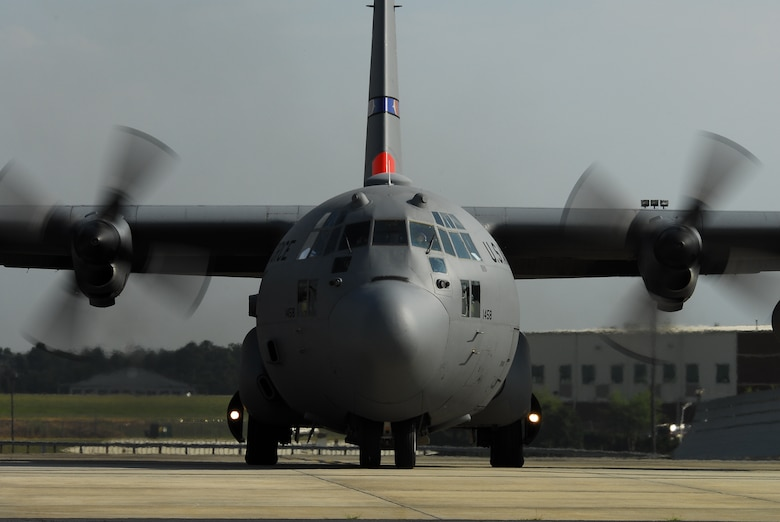 Charlotte, N.C. -- MAFFS 7, a C-130 Hercules cargo plane assigned to the 145th Airlift Wing, N.C. Air National Guard, departs 30 June, 2012 for Peterson Air Force Base, Colo., to support fire fighting throughout the Rocky Mountain area using the Modular Airborne Fire Fighting System. U.S. Air Force photo by Tech. Sgt. Brian E. Christiansen