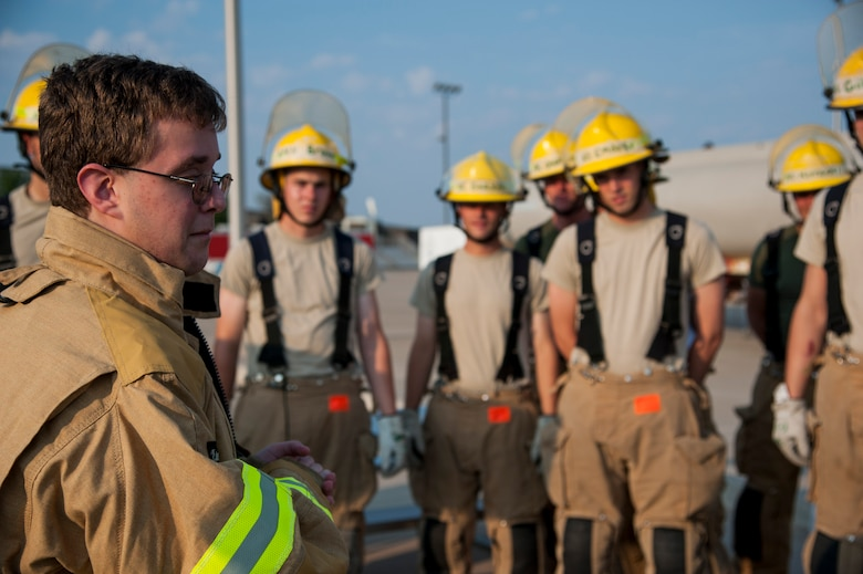 """GOODFELLOW AIR FORCE BASE, Texas-- Maxwell """"Trey"""" Pons III, Honorary Air Force firefighter, thanks and encourages students at the Louis F. Garland DOD Fire Academy June 28. Pons, who is autistic, sight impaired and hearing-impaired, had his childhood dream come true after a day filled with learning at the Fire Academy. (U.S. Air Force photo/Airman 1st Class Michael Smith)"""