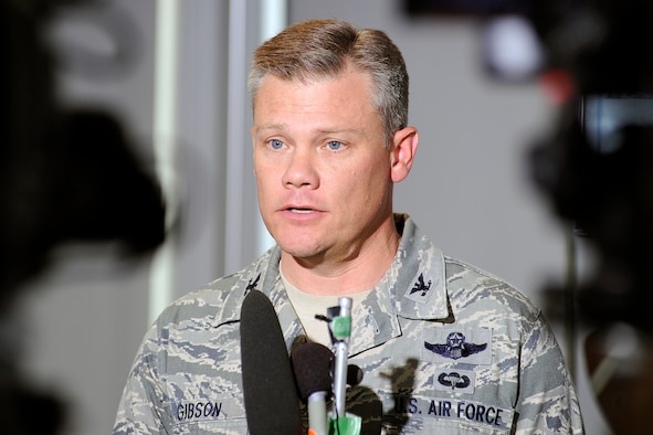 Col. Tim Gibson answers questions during a press conference at the U.S. Air Force Academy June 27, 2012. Gibson, the 10th Air Base Wing commander, evacuated families from the Academy's housing areas after the fire tripled in size a day earlier and burned nearly 350 homes south of the installation. (U.S. Air Force photo/Mike Kaplan)