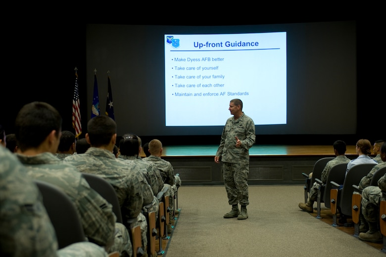 U.S. Air Force Lt. Gen. Robin Rand, 12th Air Force commander, speaks with Dyess Airmen during a commander's call July 2, 2012, at Dyess Air Force Base, Texas. During his visit, Rand expressed his gratitude to all Dyess Airmen and their families for their outstanding support of global missions and operations. (U.S. Air Force photo by Staff Sgt. Richard P. Ebensberger/ Released)