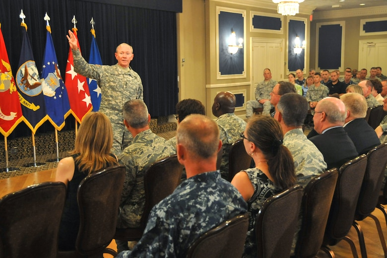 Gen. Martin Dempsey, the 18th Chairman of the Joint Chiefs of Staff, has a candid conversation with approximately 300 servicemembers and civilian personnel from U.S. Strategic Command, the 55th Wing, and the Air Force Weather Agency during a town hall meeting at the Patriot Club June 26, 2012. General Dempsey provided brief comments before opening the floor to questions from the audience. General Dempsey assumed the position of chairman on Oct. 1, 2011 after serving as the Chief of Staff of the U.S. Army. (U.S. Air Force photo by Steve Cunningham/Released)