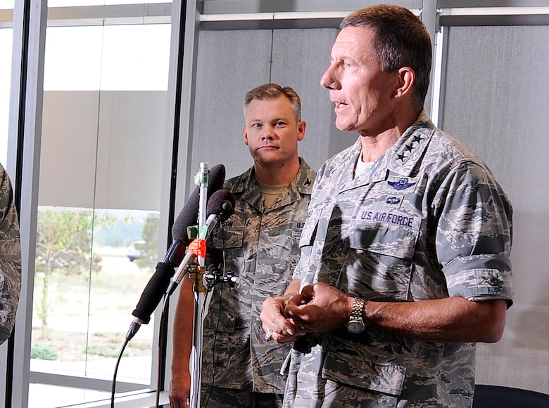 Academy Superintendent Lt. Gen. Mike Gould and 10th Air Base Wing Commander Col. Tim Gibson hold a press conference June 27 to provide updates on the Academy's firefighting and evacuation efforts. (U.S. Air Force Photo/Mike Kaplan)