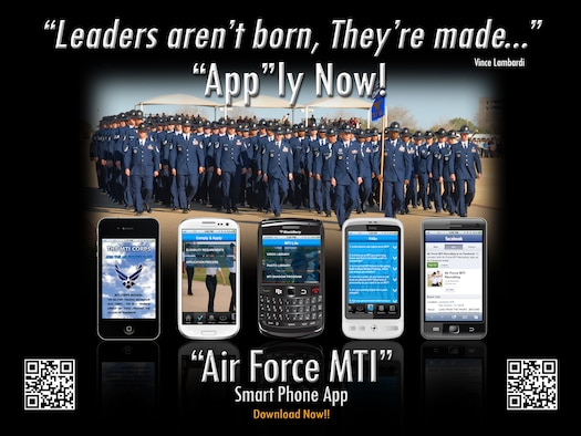 ANDERSEN AIR FORCE BASE, Guam – The new smart phone app created by the U.S. Air Force is making information about becoming a Military Training Instructor much more accessible to Airmen. The mobile app provides information on eligibility requirements and the application process including links, contact information and the applications themselves.(U.S. Air Force courtesy graphic/Released)