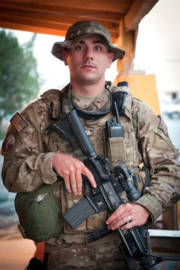 Senior Airman Jonathon Bussard, a native of Corcoran, Calif., serves with the 455th Expeditionary Security Force Squadron in eastern Afghanistan. Even though he was only in grade school during the 9/11 terrorist attacks, Bussard said they played a part in his decision to serve. (U.S. Army photo/Staff Sgt. Nick Morales)