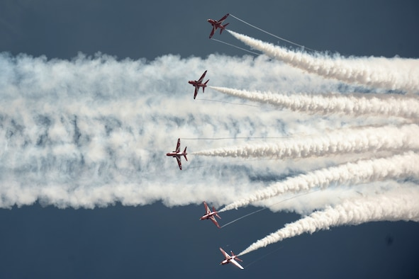 RAF FAIRFORD, United Kingdom - The Royal Air Force Red Arrows perform during the Royal International Air Tattoo here July 8. More than 130,000 people attended the tattoo. (U.S. Air Force photo by Master Sgt. John Barton)