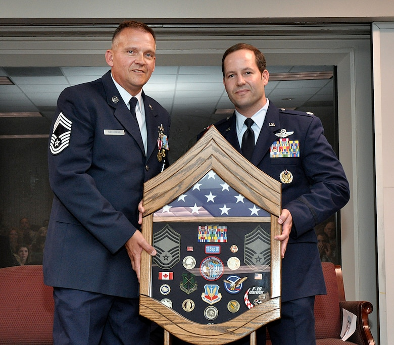 Lt Col Jon Stone presented a shadow box to Chief Master Sergeant Randy Bachmann, Detachment 1, Chief Enlisted Manager, in honor of his 26 year Air Force career at a retirement ceremony held 28 June 2012, at Ellington Field, Houston Texas.  CMSgt Bachmann served 20 of his 26 years at alert detachments.