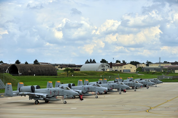SPANGDAHLEM AIR BASE, Germany – A-10 Thunderbolt II aircraft from the 81st Fighter Squadron wait on Ramp 4 here July 5 before leaving for Exercise Dacian Thunder July 6. The 81st FS, along with members of the Romanian air force, are working together during the exercise to practice close-air-support and combat search and rescue techniques to build partnerships while mutually improving their capabilities. (U.S. Air Force photo by Airman 1st Class Dillon Davis/Released)