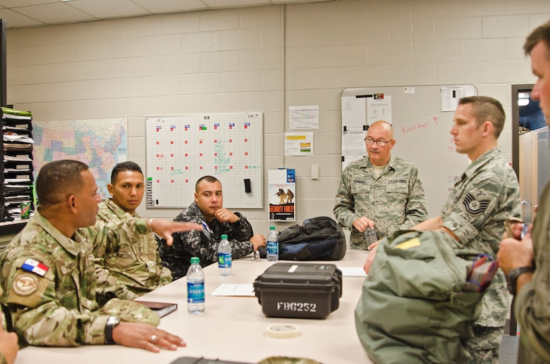 Service members from the Panamanian military came to the 139th Airlift Wing this week to train on military procedures July 11, 2012, at Rosecrans Air National Guard Base, St. Joseph, Mo.  The Missouri National Guard is part of the State Partnership Program in which each state interacts with different countries' militaries, which helps with international relations. (Air National Guard photo by Senior Airman Kelsey Stuart/Released)