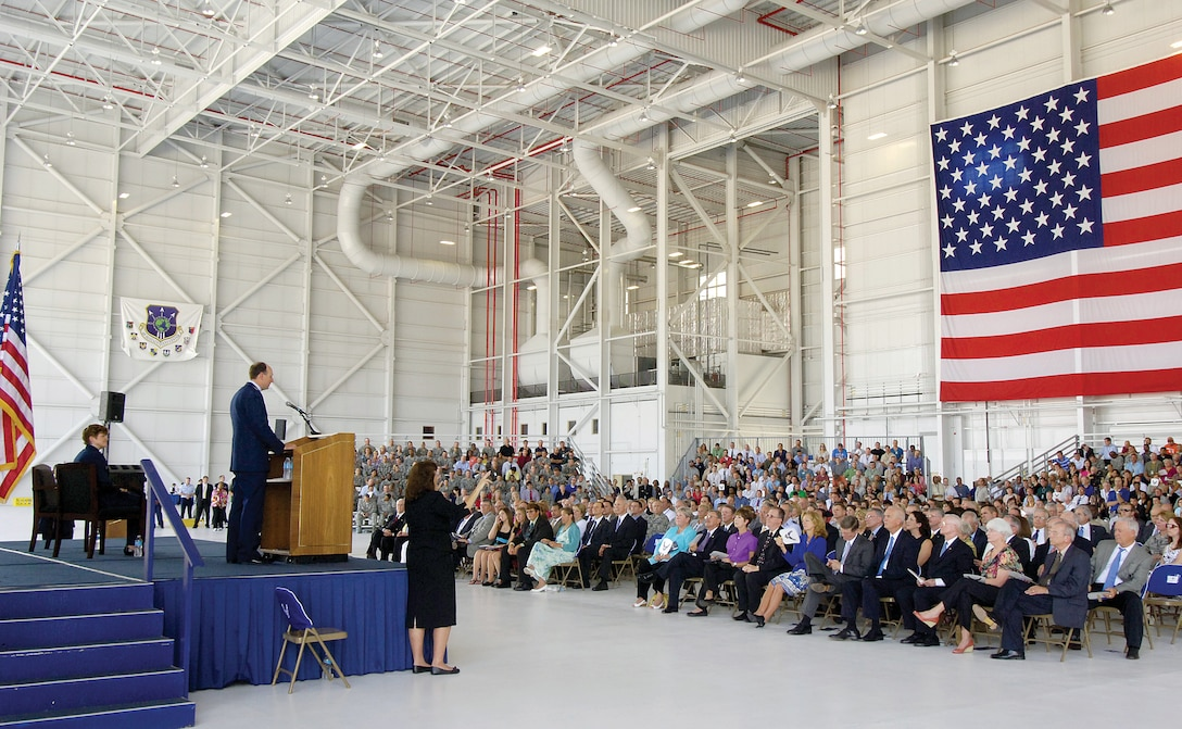 In front of a crowd of hundreds of Airmen, family, former Center leadership, and state and local officials, the Oklahoma City Air Logistics Center was redesignated the Oklahoma City Air Logistics Complex and aligned under the newly activated Air Force Sustainment Center. Lt. Gen. Bruce Litchfield, AFSC commander, received his third star during the ceremony, which was presided over by Gen. Janet Wolfenbarger, Air Force Materiel Command commander. (U.S. Air Force photo/Margo Wright)