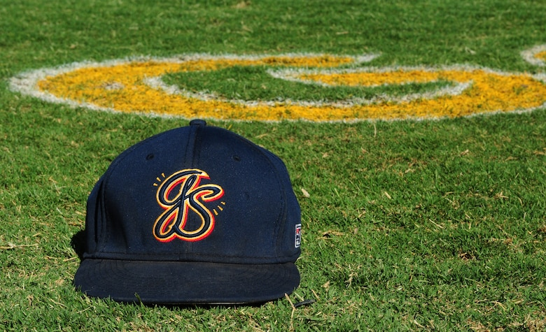 Marysville Goldsox hat sits on Appeal-Democrat Field during pregame warm-ups July 5 in Marysville, Calif. The Goldsox defeated the California Glory of Lodi, Calif. 8-3. (U.S. Air Force photo by Senior Airman Allen Pollard)