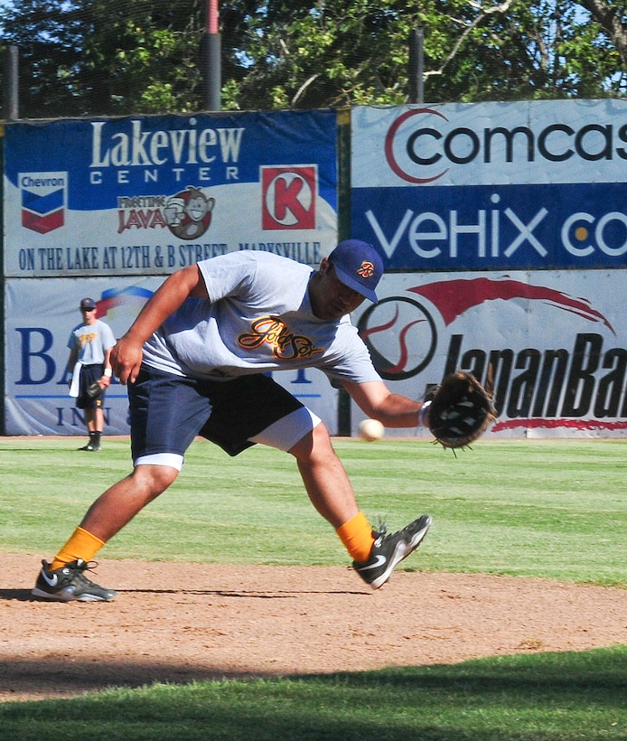 Air Force Academy Cadet Seth Kline fields a ground ball during pregame warm-ups at Appeal-Democrat Field in Marysville, Calif. July 5. Kline will be playing summer baseball with the Marysville Goldsox during his three week Operation Air Force tour here. (U.S. Air Force photo by Senior Airman Allen Pollard)