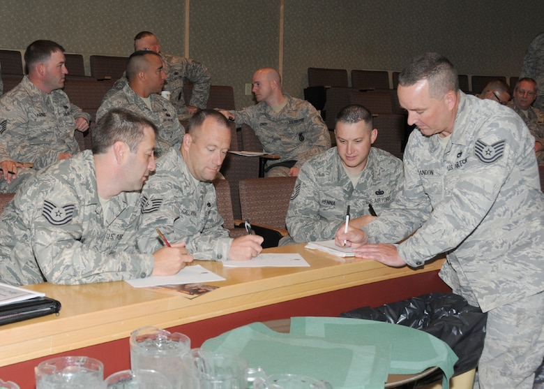 "More than 130 staff and technical sergeants from the Massachusetts Air National Guard and two sergeants from each New England state, participate in an exercise taught by leadership educator Ken Weichertat the Southbridge Hotel & Conference Center for an inaugural 3-day workshop specifically targeted to the E-5 and E-6 ranks on July 11.  The workshop was titled ""TIME"" (Technical Sergeants Involved and Mentoring Enlisted Airmen) and primarily focused on building strength in enlisted mentorship, leadership, force development and diversity. (Air National Guard photo by Tech. Sgt. Melanie J. Casineau/Released)"