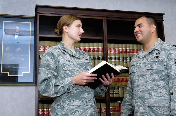 The new Area Defense Counsel team of attorney Capt. Elizabeth Crane and paralegal Tech. Sgt. Albert Ramirez provide legal advice and defense for all ranks of Airmen.  The ADC office is located in Bldg. 1, Door B. (Air Force photo by Margo Wright)