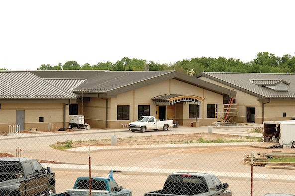 Tinker's Child Development Center South construction continues near new base housing and the transportation building near the Gott Gate on the south side of the base. (Air Force photo by Margo Wright)