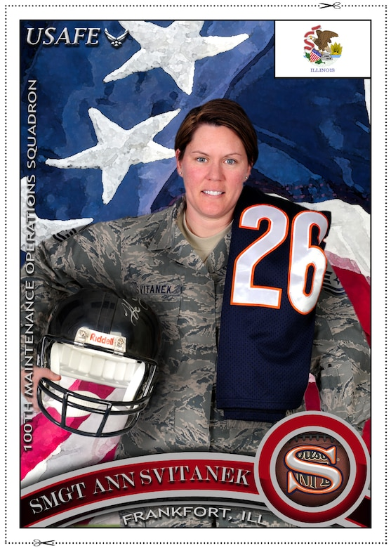 """Senior Master Sgt. Ann Svitanek, 100th Maintenance Operations Squadron, describes how she believes standing as one, the Air Force is strong, and relays her excitement for the upcoming Olympic Games. Svitanek is the 100th MOS Maintenance Operations Flight superintendent and hails from Frankfort, Ill. """"The excitement is unbelievable and a great opportunity. To be able to witness firsthand the build up to the games, the torch run, the anticipation of all the athletes' arrival, the opening ceremonies, and for just a small amount of time each participating country having the exact same goal, to bring home the Gold for their country,"""" she said. (U.S. Air Force photo illustration/Tony Dineen)"""