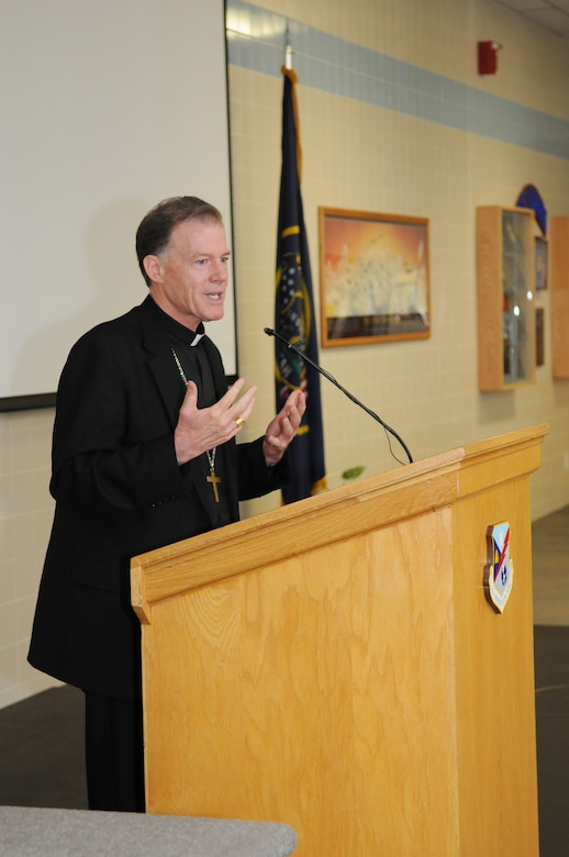 Bishop John Wester of the Utah Catholic Diocese speaks at the 4th annual interfaith devotional at the Utah Air National Guard Base in Salt Lake City, July 15, 2012. (U.S. Air Force Photo by MSgt. Gary Rihn/Released)
