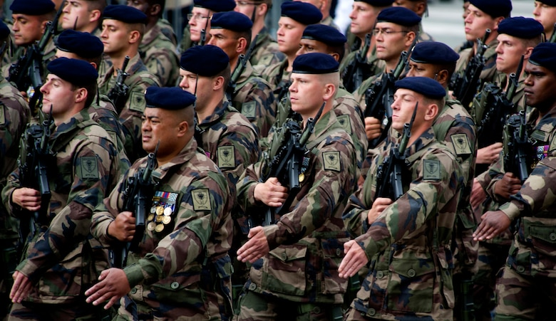 PARIS -- Soldiers from France?s First Infantry Regiment march down Camps del Elysee during the 2012, 14th of July parade in Paris. The 14th of July, known in English by Bastille Day, is the French equivalent of the American 4th of July. It commemorates the attack on the Bastille on July 14, 1989, which preceded the French revolution. (U.S. Air Force photo/Staff Sgt. Benjamin Wilson)