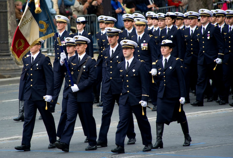 PARIS -- Cadets and their instructors from the French Air Force Academy march in the 2012, 14th of July parade. The 14th of July, known in English by Bastille Day, is the French equivalent of the American 4th of July. It commemorates the attack on the Bastille on July 14, 1989, which preceded the French revolution. (U.S. Air Force photo/Staff Sgt. Benjamin Wilson)