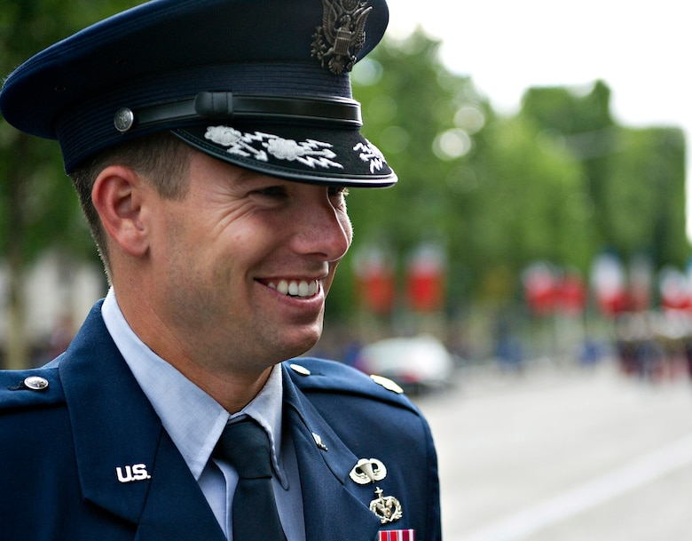 PARIS -- U.S. Air Force Maj. James Gingras, French Air Force Academy exchange officer, left, speaks with his cadets before marching in the 2012, 14th of July parade in Paris. The 14th of July, known in English by Bastille Day, is the French equivalent of the American 4th of July. It commemorates the attack on the Bastille on July 14, 1989, which preceded the French revolution. (U.S. Air Force photo/Staff Sgt. Benjamin Wilson)