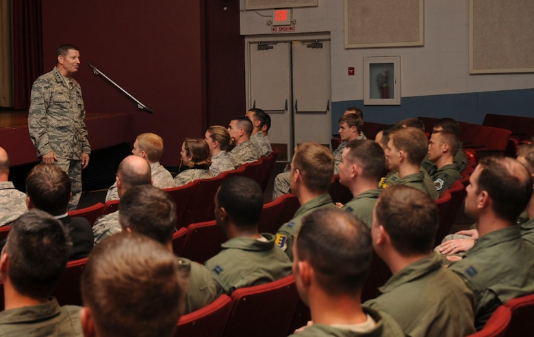 Lt. Gen. Robin Rand, 12 Air Force commander, speaks to officers during the 12th Air Force commander's call at the base theater on Ellsworth Air Force Base, S.D., July 13, 2012. Lt. Gen. Rand visited various base facilities where he had the opportunity to observe many facets of Ellsworth's mission. (U.S. Air Force photo by Airman 1st Class Anania Tekurio/Released)