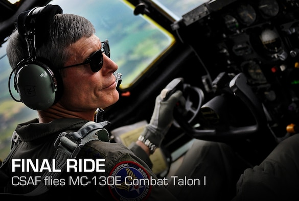"Air Force Chief of Staff Gen. Norton Schwartz flies an MC-130E Combat Talon I during his last flight as an active duty officer near Hurlburt Field, Fla., July 12, 2012. The MC-130E Combat Talon I crew conducted a local training sortie during the mission. It also served as Schwartz's ""fini flight"" in the Air Force. (U.S. Air Force photo/Tech. Sgt. Samuel King Jr.)"