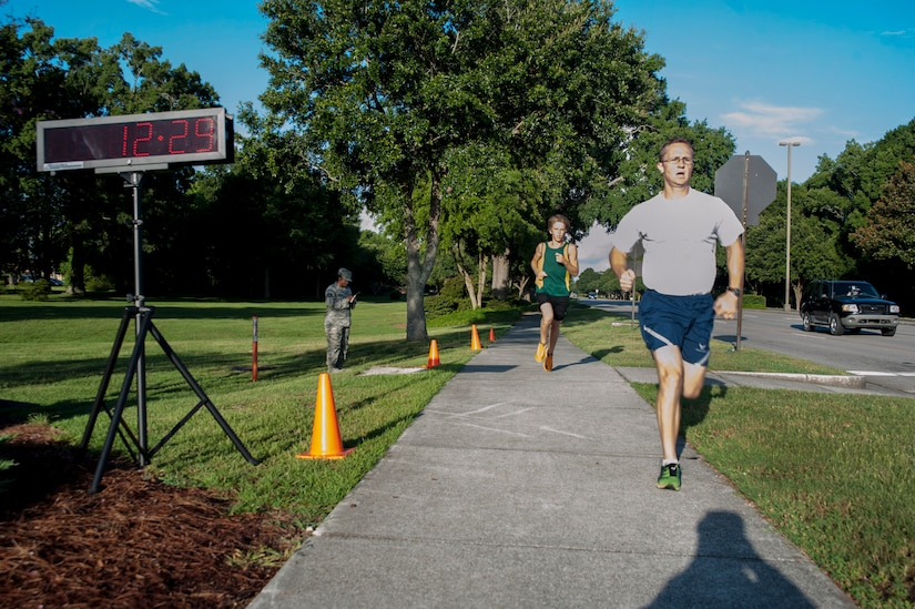 Capt. Matt Hellier, 14th Airlift Squadron, 437th Airlift Wing, was the fastest male runner with a time of 12:29 during the 2.37-mile Commander's Challenge Run at Joint Base Charleston - Air Base July 13, 2012. (U.S. Air Force photo/Airman 1st Class Ashlee Galloway)