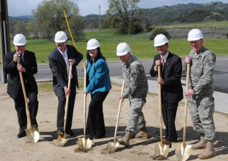 FORT HUNTER LIGGETT, Calif. -- Representatives from the Department of the Army, U.S. Rep. Sam Farr's district office, Fort Hunter Liggett and the U.S. Army Corps of Engineers Sacramento District broke ground a one-megawatt solar array in a ceremony at Fort Hunter Liggett, Calif., April 8, 2011. From left to right: Todd Davis, U.S. Army Reserve chief of staff; Mr. Brian Bothman, vice president of Robert A. Bothman Inc.; the Katherine Hammack, Assistant Secretary of the Army for Installations and Environment; Col. James Suriano, Fort Hunter Liggett garrison commander; Alec Arago, district director for U.S. Rep. Sam Farr's district office; and Lt. Col. Andrew Kiger, U.S. Army Corps of Engineers Sacramento District district commander. The solar array is the first of three planned for the post, which will eventually provide 100 percent of Fort Hunter Liggett's energy needs. The Sacramento District is managing the project.