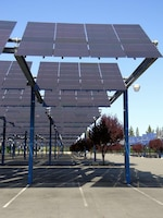 SACRAMENTO, Calif. -- Solar arrays at the Sacramento State Fair Grounds here resemble the array now under construction at Fort Hunter Liggett. The new one-megawatt solar array will provide for 30 percent of the post's energy needs. The U.S. Army Corps of Engineers Sacramento District is managing the renewable energy project.