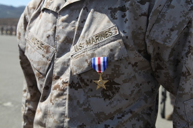 Staff Sgt. Paul Worley, infantry platoon sergeant with Kilo Company, 3rd Battalion, 1st Marine Regiment, 1st Marine Division, I Marine Expeditionary Force, wears his Silver Star Medal just after it was pinned on him during his award ceremony at Camp Pendleton, Calif., July 17. Worley received the medal for actions while 1st squad leader Combined Anti-Armor Team 1, Weapons Company 3rd Battalion, 1st Marines, Regimental Combat team 7, 1st Marine Division, I Marine Expeditionary Force, on 12 July 2010 in support of Operation Enduring Freedom.