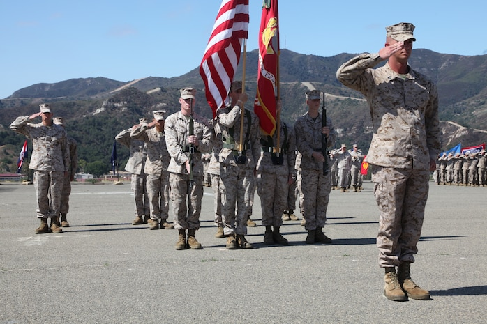 Staff Sgt. Paul Worley, infantry platoon sergeant with Kilo Company, 3rd Battalion, 1st Marine Regiment, 1st Marine Division, I Marine Expeditionary Force, salutes during a Silver Star Medal award ceremony at Camp Pendleton, Calif., July 17. The Silver Star Medal is given to those who display courage, valor and perseverance in the face of the enemy.