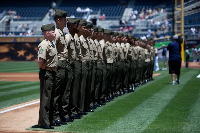 SAN DIEGO-Marines with the 11th Marine Expeditionary Unit and other units throughout Southern California take the field during a pre-game military appreciation day ceremony at Petco Park July 8. The 11th MEU Marines returned June 21 from a seven-month deployment to the Western Pacific, Horn of Africa and Middle East regions., Sgt. Elyssa Quesada, 7/8/2012 3:53 AM