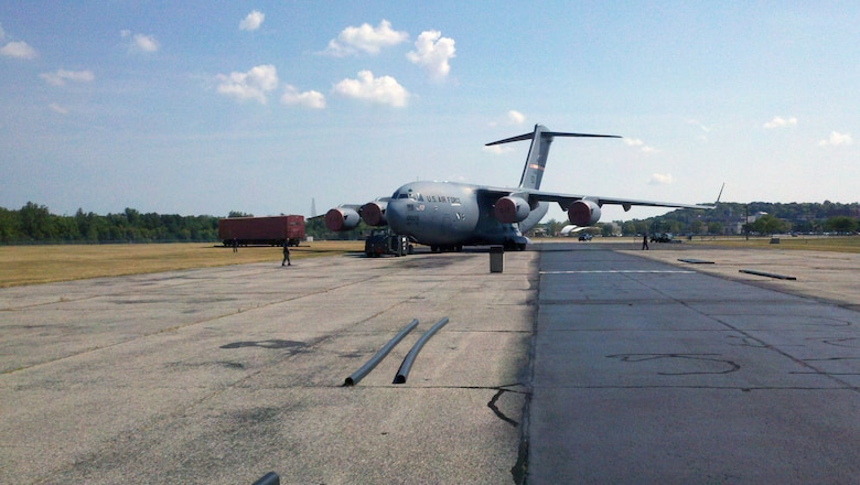DAYTON, Ohio -- The C-17 is towed to its exhibit space in the Air Park at the National Museum of the U.S. Air Force. (U.S. Air Force photo)