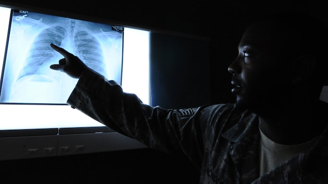 ANDERSEN AIR FORCE BASE, Guam – Staff Sgt. Jahmal Nicholas, 36th Medical Support Squadron diagnostics imaging craftsman, reviews a patient's chest x-ray July 18. A x-ray allows a more in-depth look into any anomalies the patient may have. (U.S. Air Force photo by Senior Airman Carlin Leslie/Released)