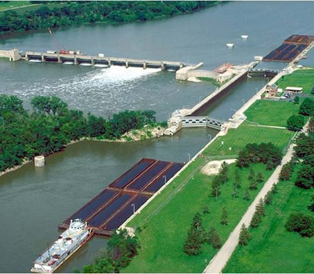 Dresden Lock and Dam on the Illinois River near Morris, Ill., is one of 239 lock chambers at 193 sites nationally operated by the U.S. Army Corps of Engineers that provides half-hourly lock and daily vessel specific information through a new Lock Performance Monitoring System that is Web-based and available to the public at http://corpslocks.usace.army.mil/.