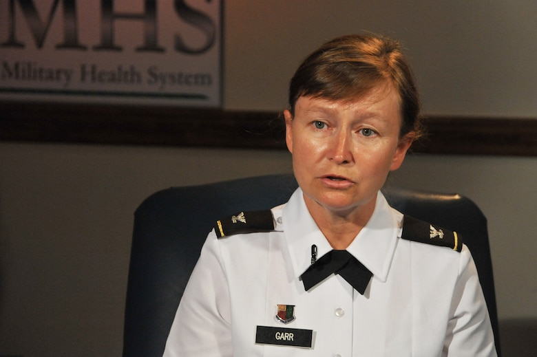 Army Col. Mary Garr explains the process of achieving the San Antonio Military Health System as being a benchmark DOD success story during an interview at Wilford Hall Ambulatory Surgical Center, San Antonio, Texas, July 9, 2012. (U.S. Air Force photo/Desiree N. Palacios)