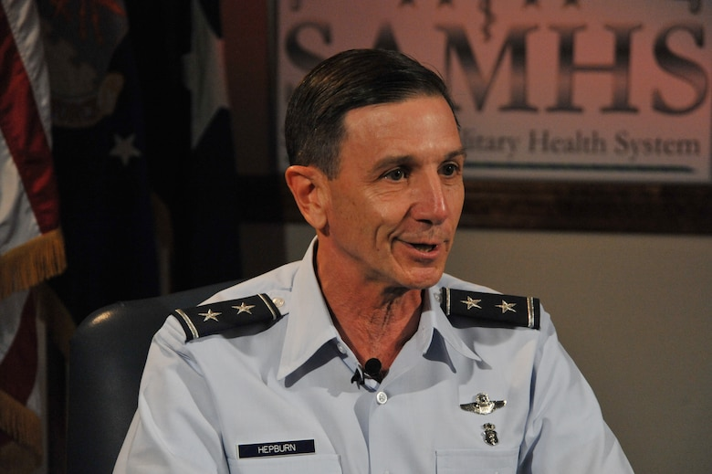 Maj. Gen. Byron Hepburn explains the San Antonio Military Health System as being a benchmark DOD success story during an interview at Wilford Hall Ambulatory Surgical Center, San Antonio, Texas, July 9, 2012. (U.S. Air Force photo/Desiree N. Palacios)